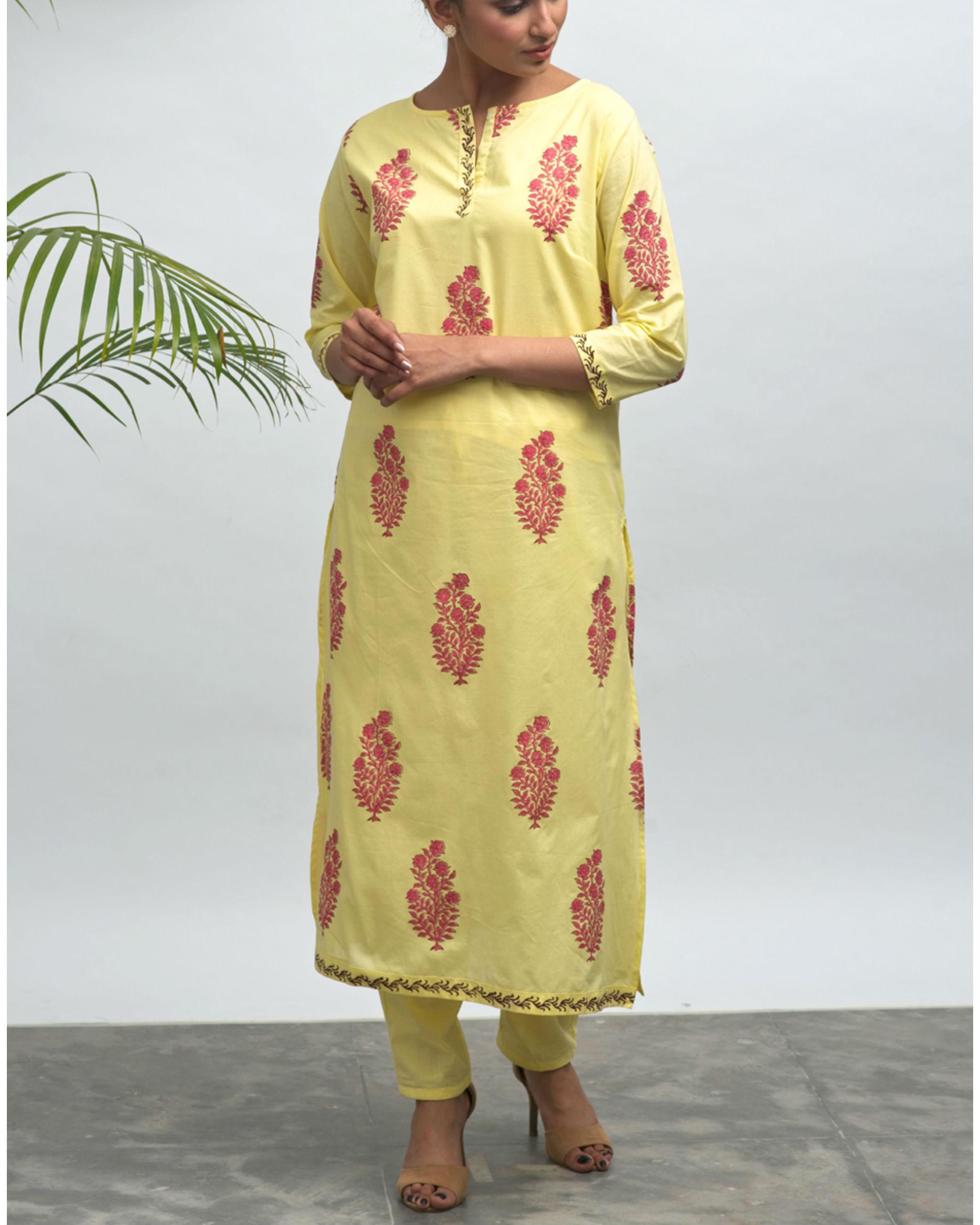 Sunflower hand block printed kurta pant set
