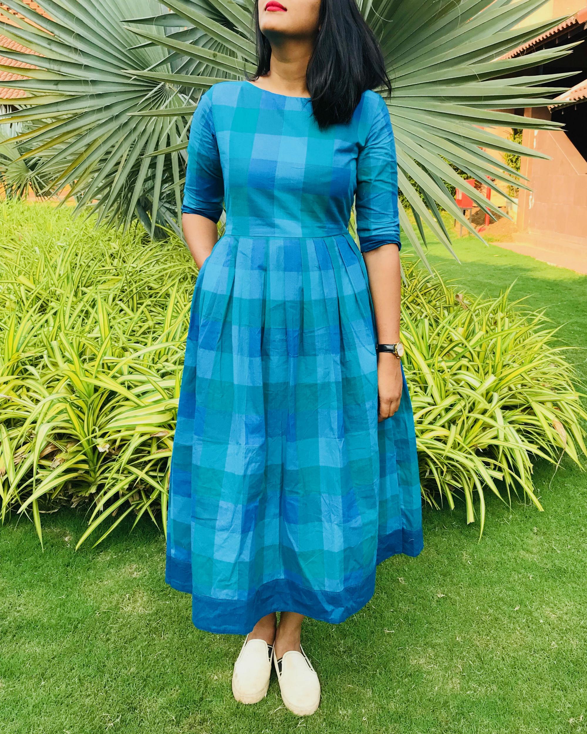 Shades Of Blue Checks Dress By Threeness The Secret Label