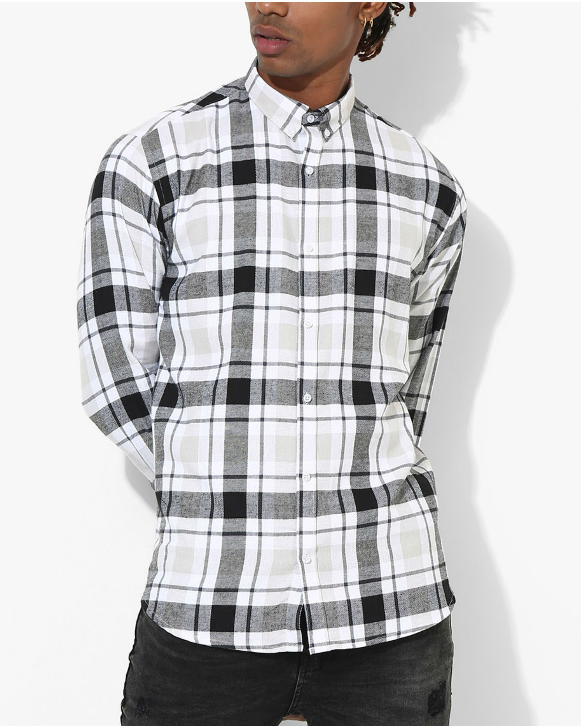 Tartan Checks White & Black Shirt