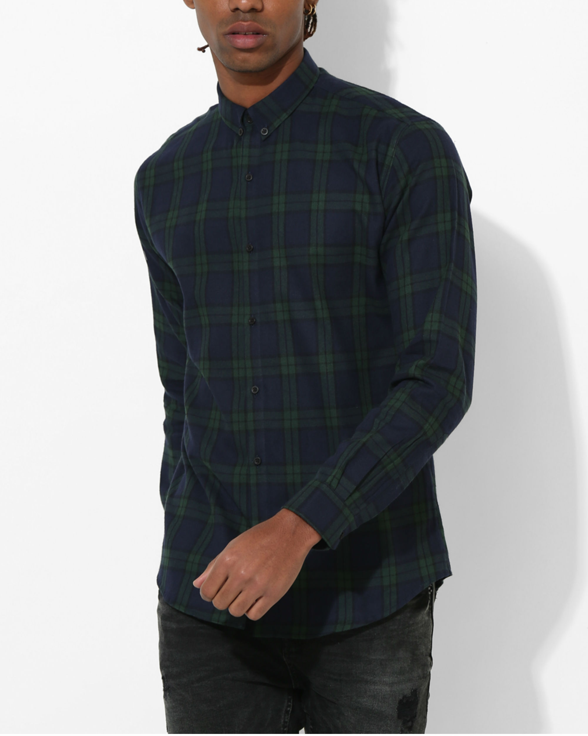 Oxford Checks Green & Black Shirt