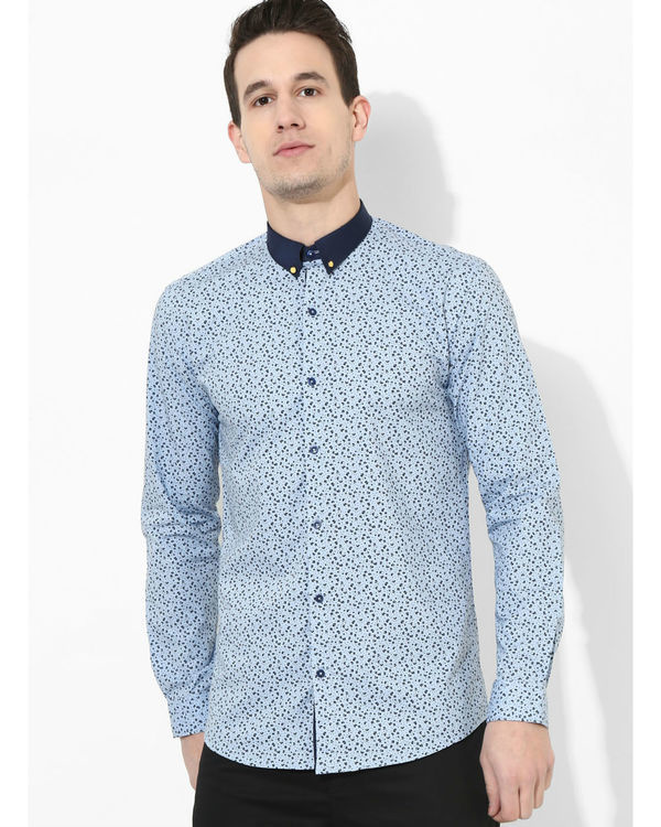 Printed Sky Blue Golden Button Shirt