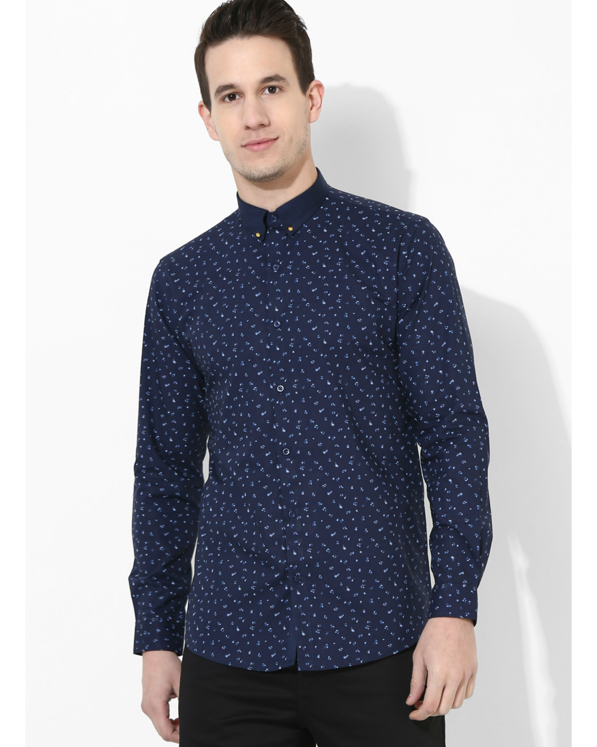 Printed Navy Blue Golden Button Shirt