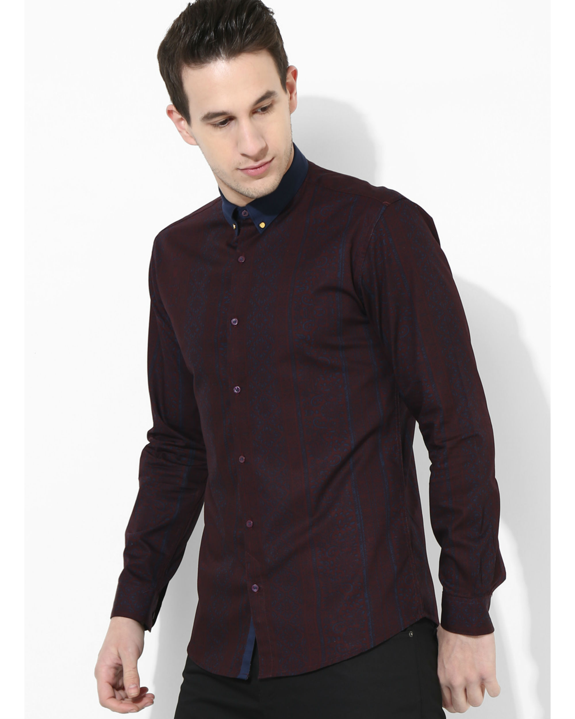 Printed Maroon Golden Button Shirt