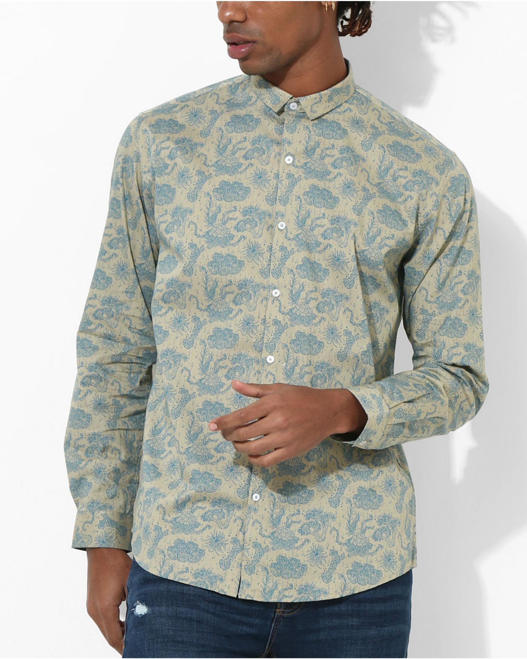 Printed Floral Beige Shirt