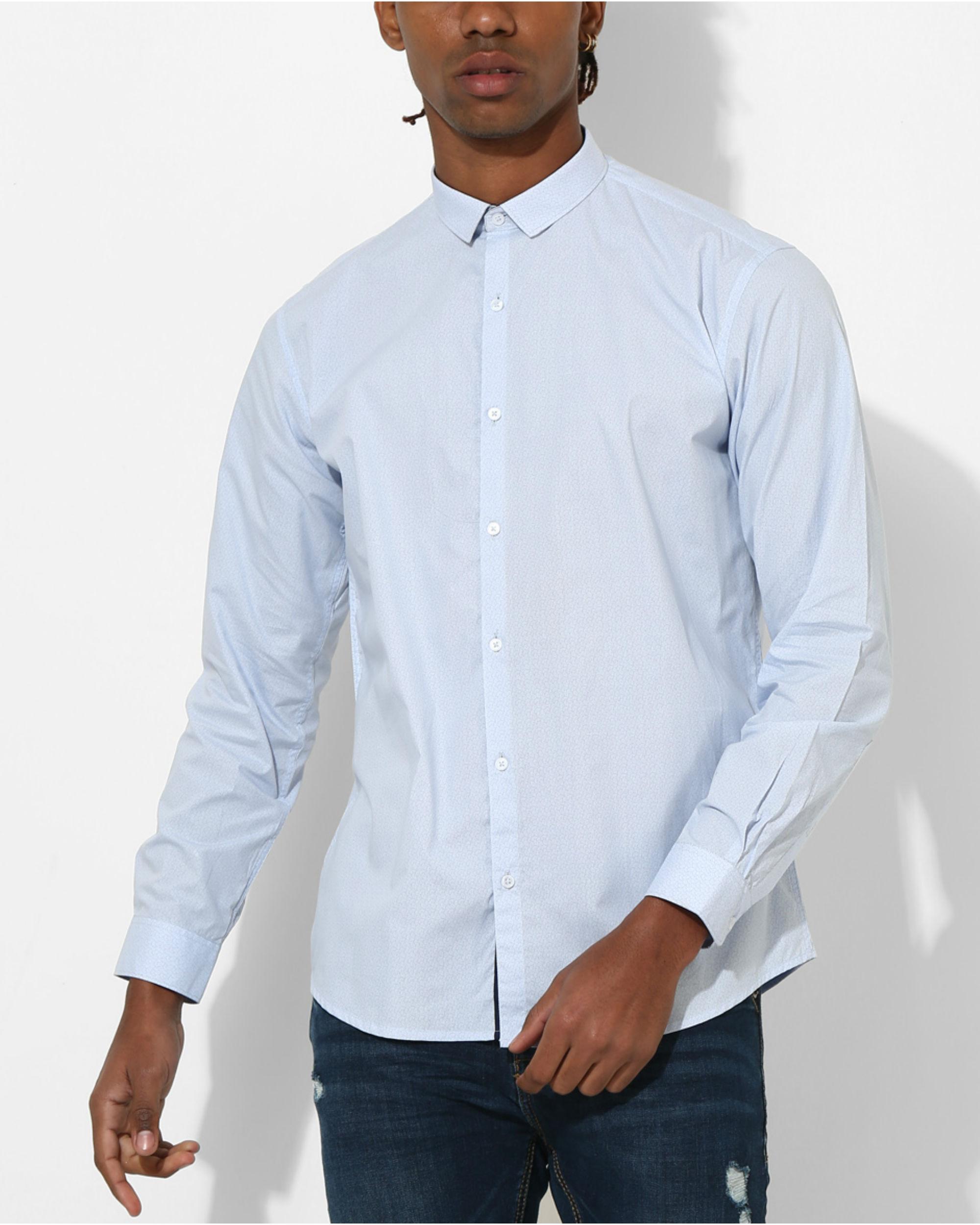 Printed Sky Blue Shirt
