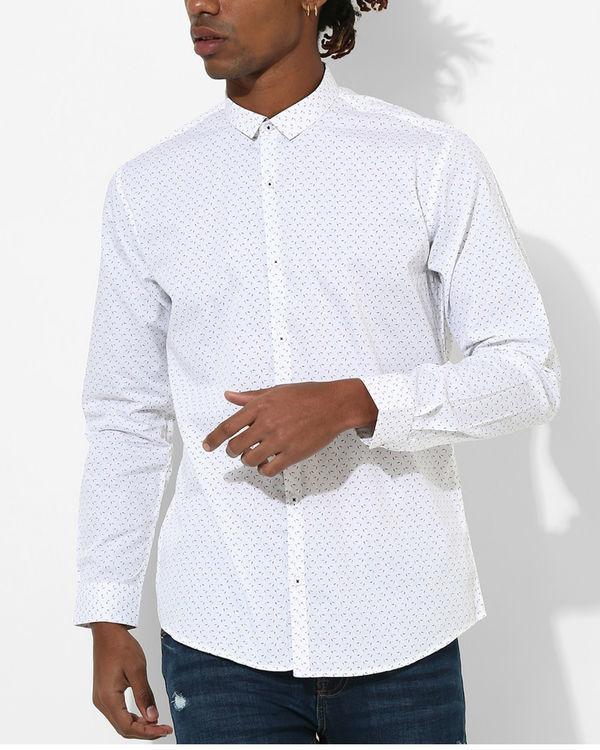 Printed White & Red Detail Shirt