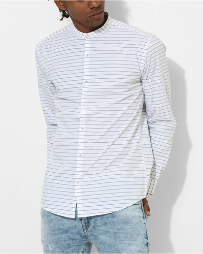 White & Blue Striped Shirt