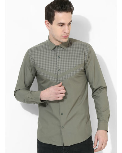 Olive Panelled Checks Shirt