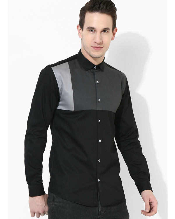 Black and grey square panelled shirt