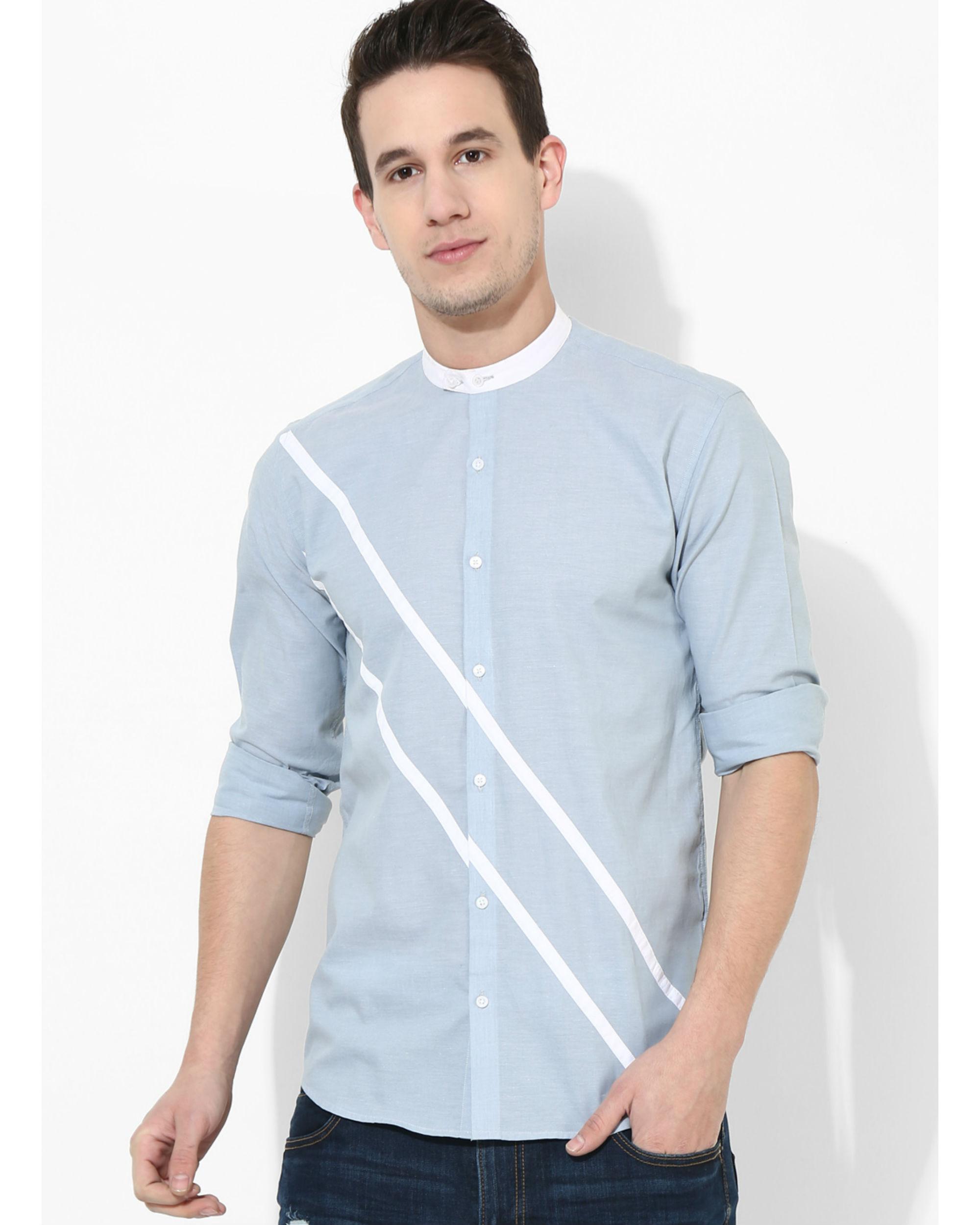 Sky blue duo stripe shirt