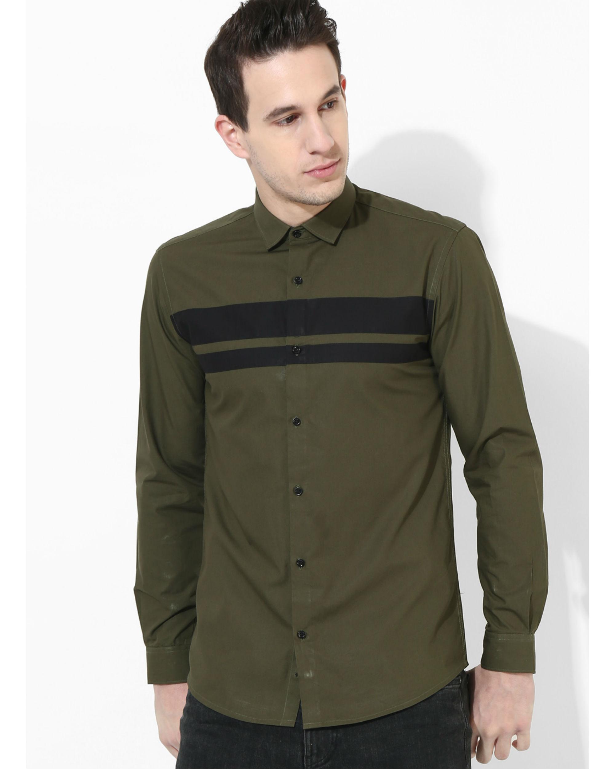 Olive Black Stripe Club Shirt