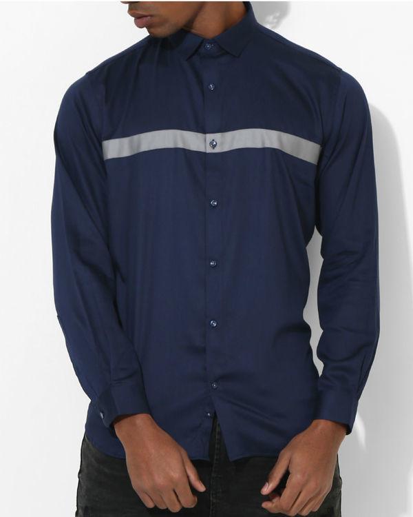 Navy blue grey panel stripe shirt