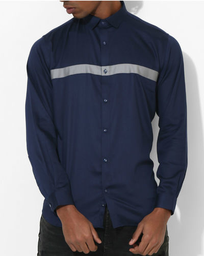 Navy Blue Grey Panel Stripe Shirt