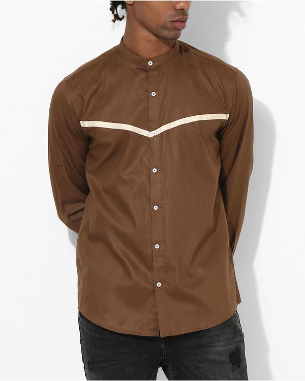 Brown beige panel stripe shirt