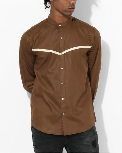 Brown Beige Panel Stripe Shirt