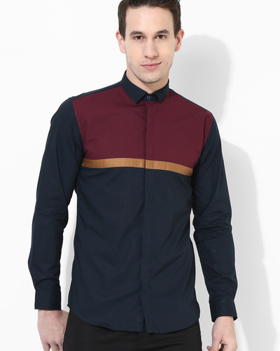 Color Block Panel Shirt