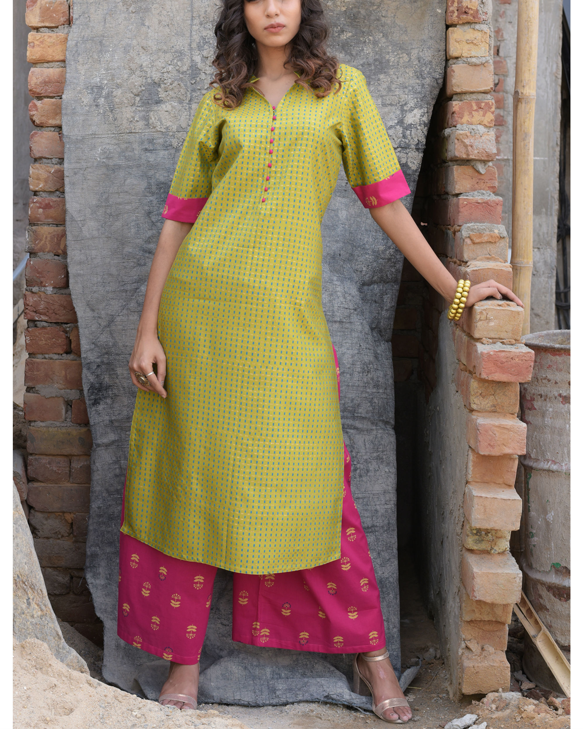 Mint gold  kurta with pink palazzo set