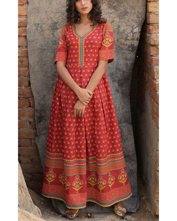 Crimson block dress