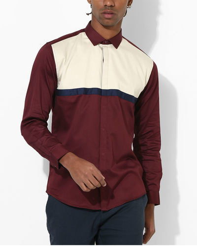 Maroon Duo Panel Shirt