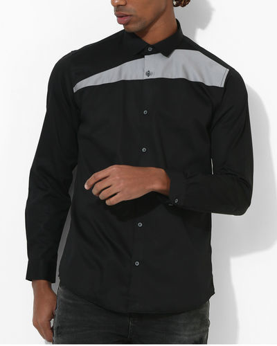 Black And Grey Sharp Cut Shirt