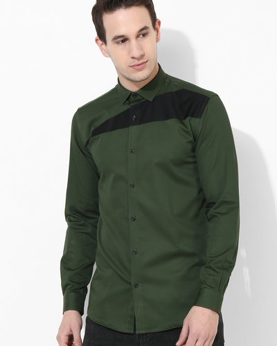 Olive And Black Sharp Cut Shirt