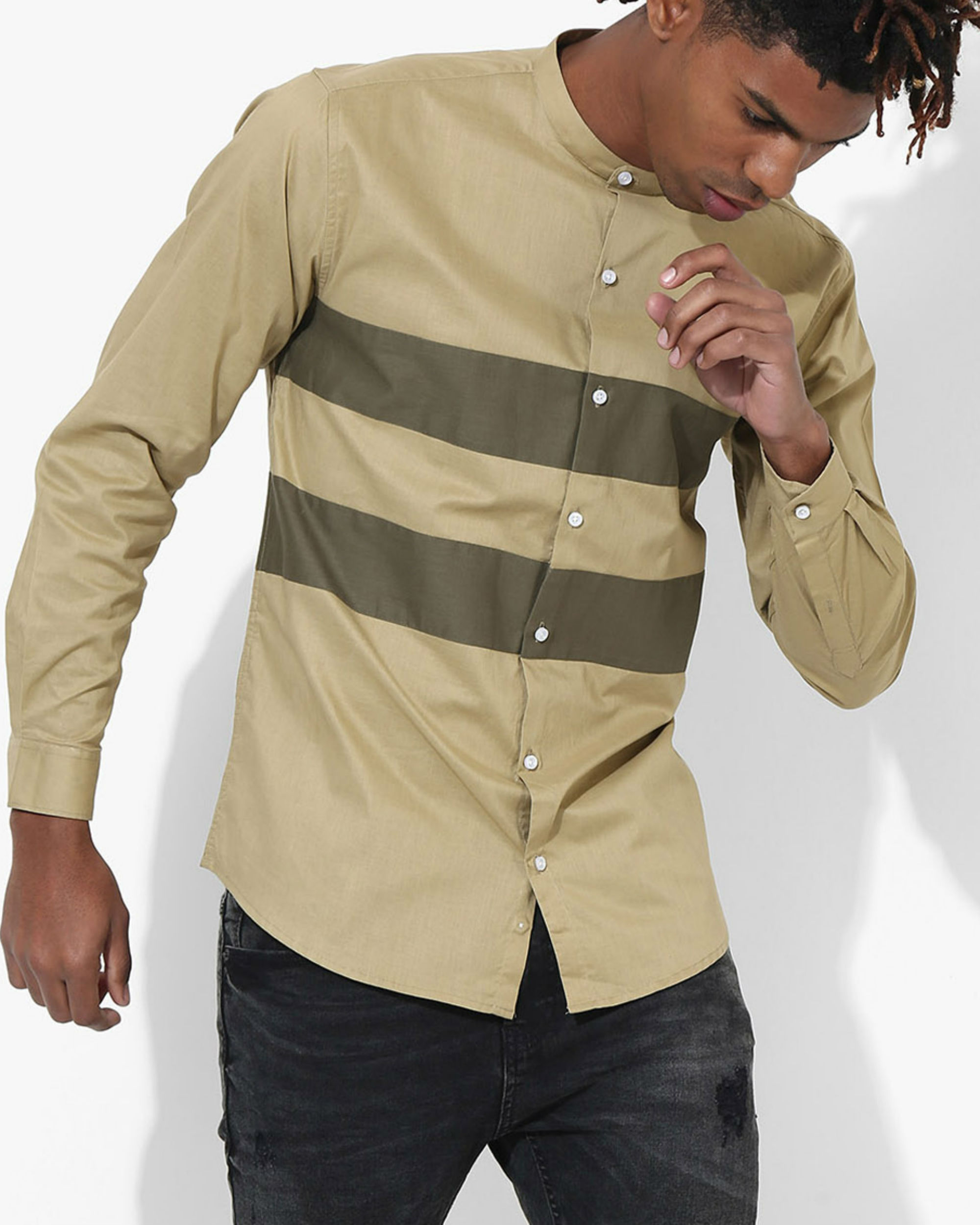 Beige Olive Two Stripe Shirt
