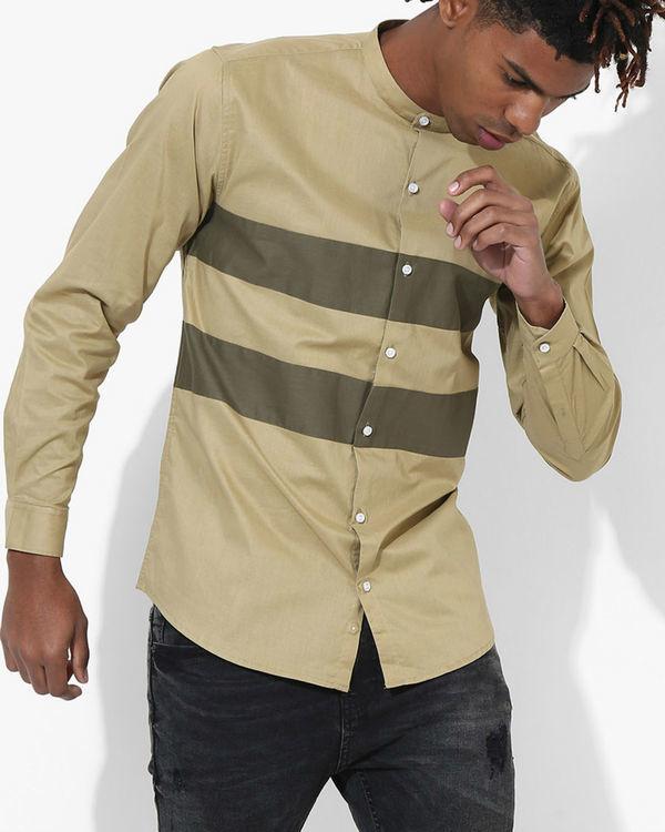 Beige Olive Two Stripe Shirt