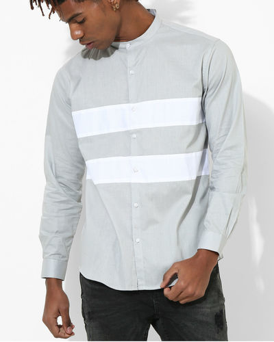 Light Grey Two Stripe Shirt