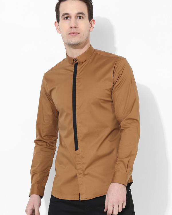 Brown black stripe shirt