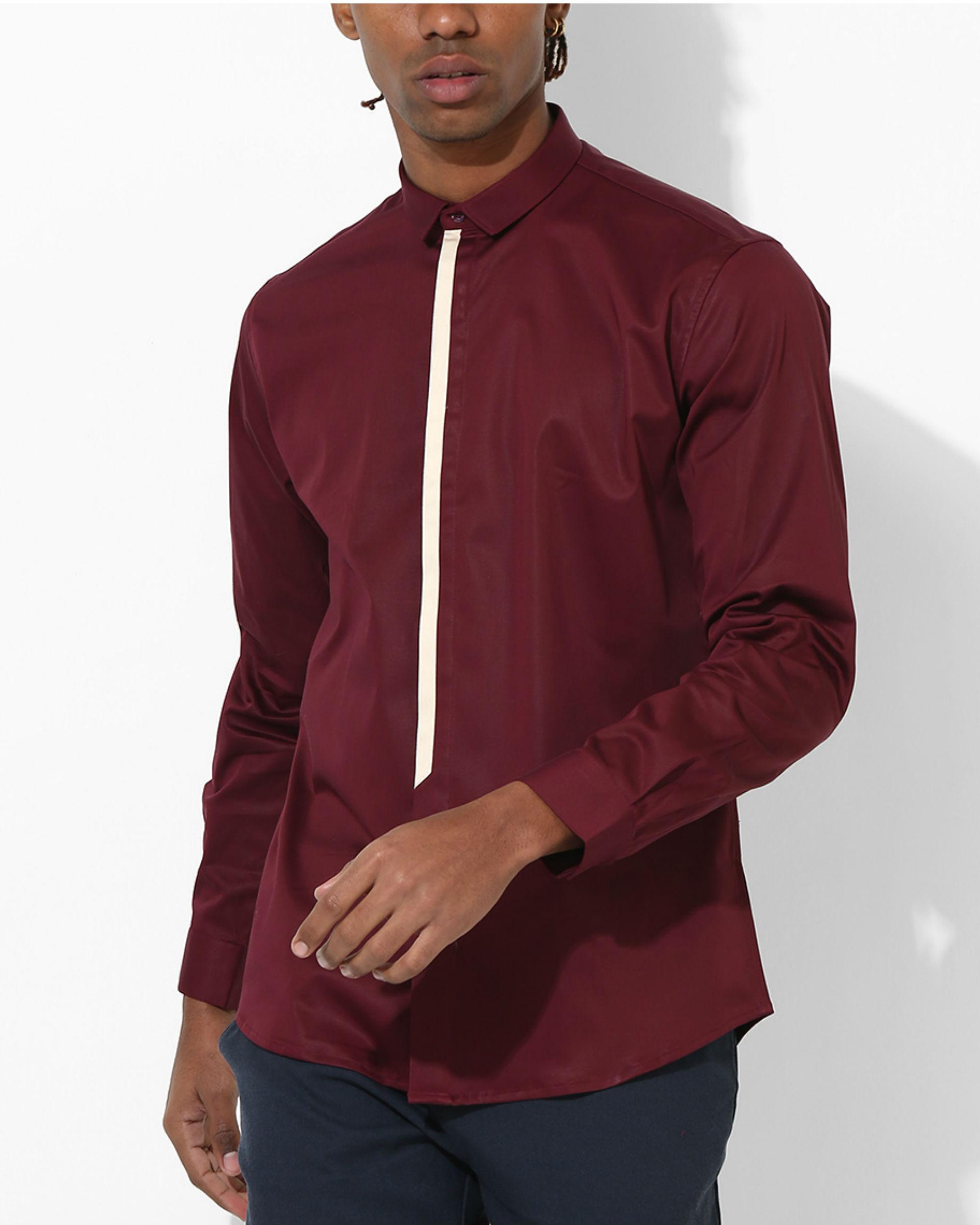 Maroon Beige stripe Shirt