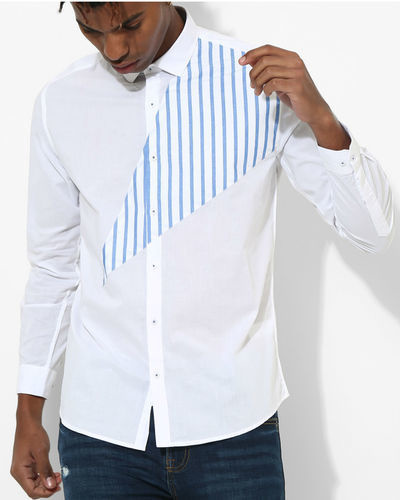 White & Blue Stripes Triangle Shirt
