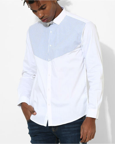 White & Blue Stripes Shirt