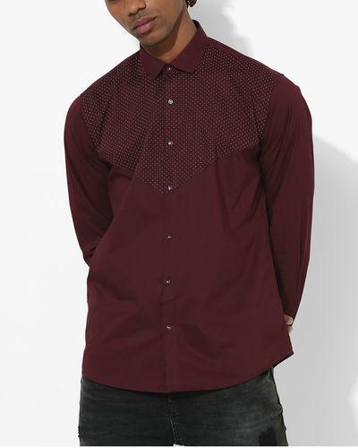 Maroon Polka Dot Shirt