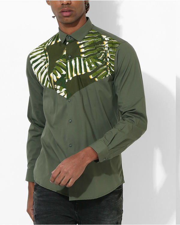 Olive Tropical panel shirt