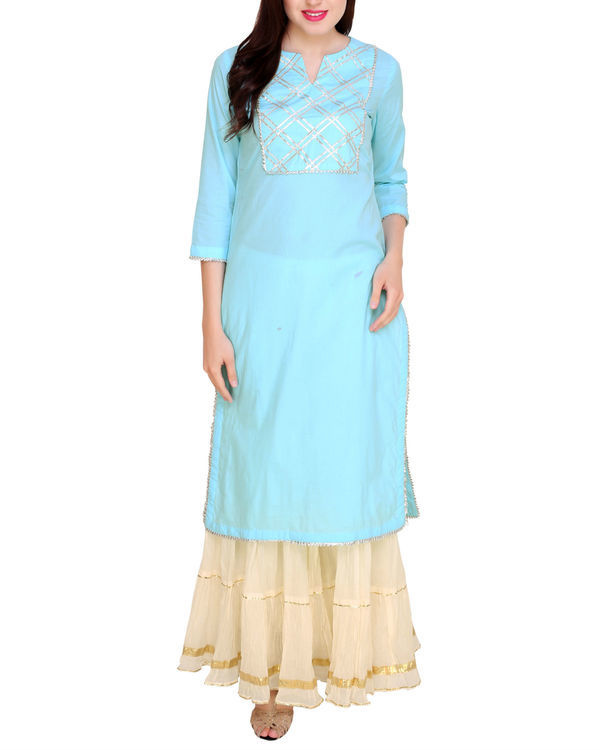 Sky blue kurta sharara set