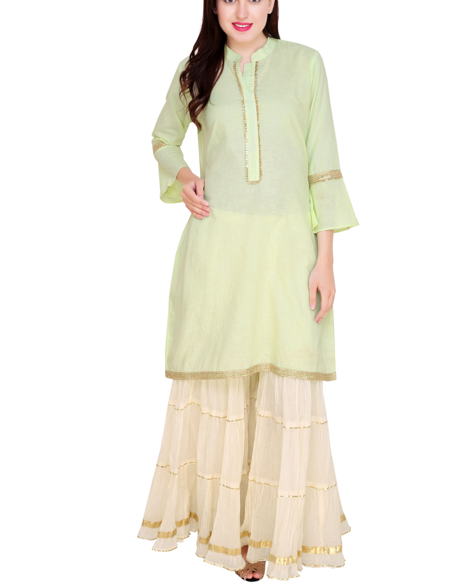 Mint and off white sharara set
