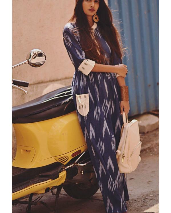 Blue ikat maxi dress