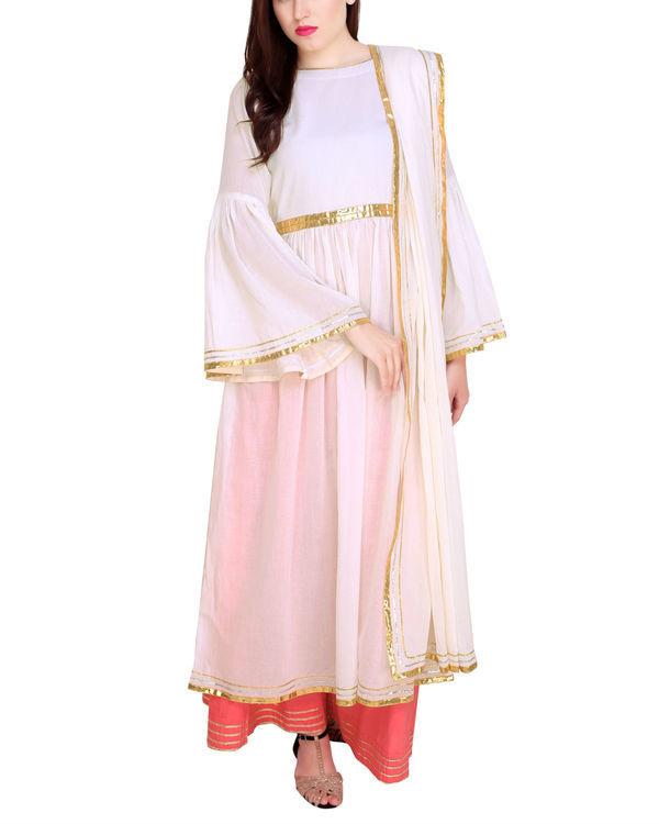 Off white tunic set with dupatta