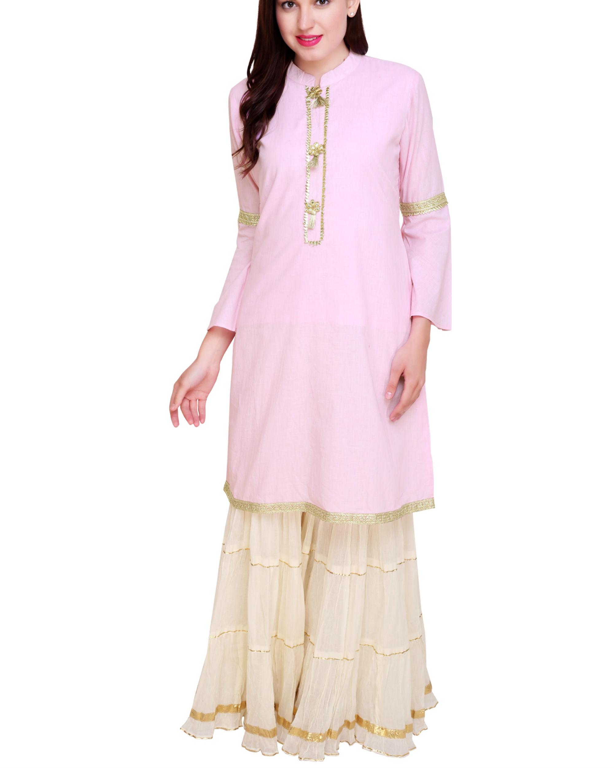 Pale pink and off white sharara set