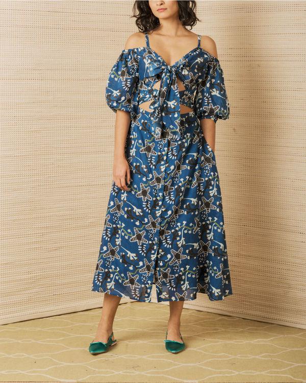 Tie up dress in indigo