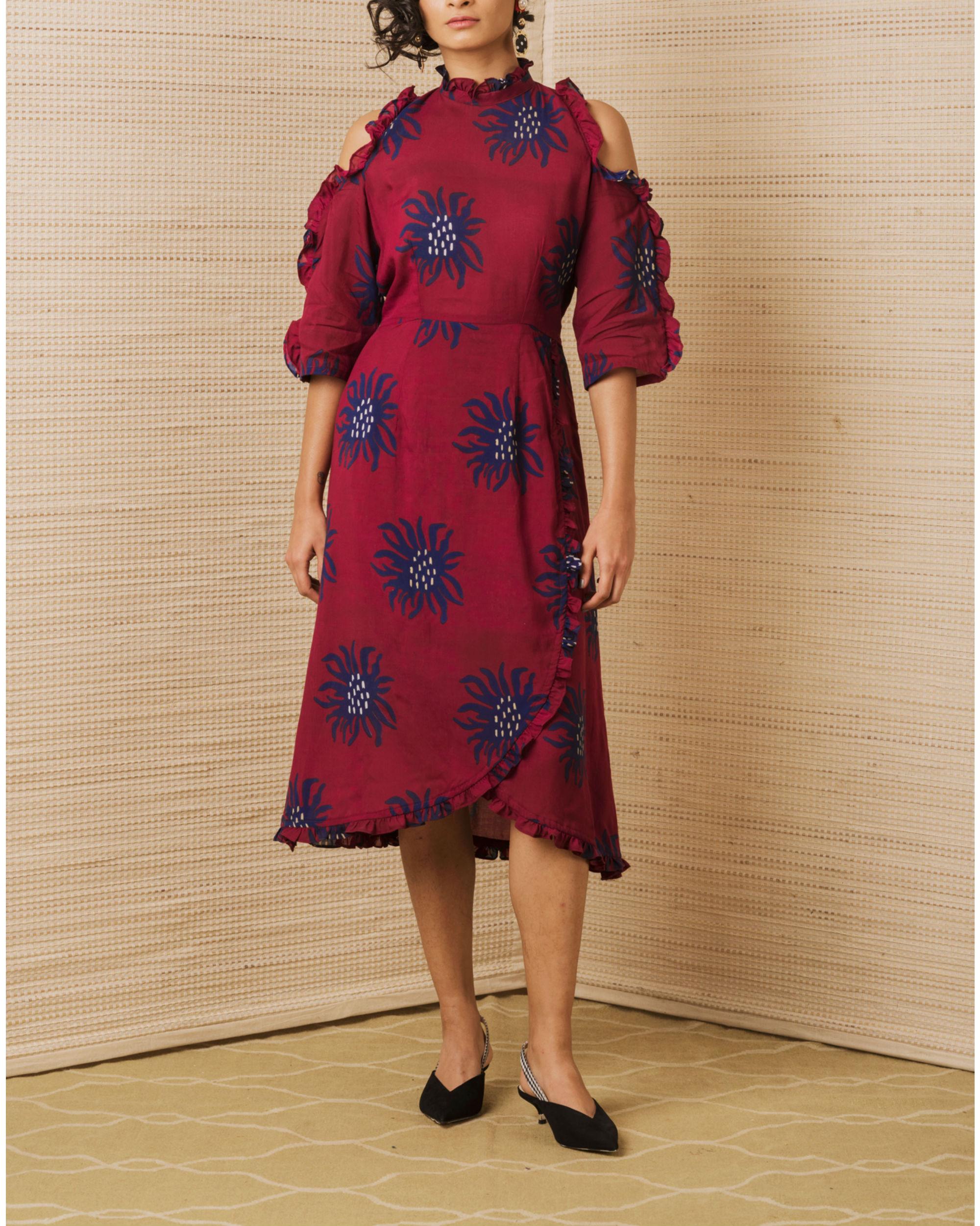 Anemone cold shoulder dress
