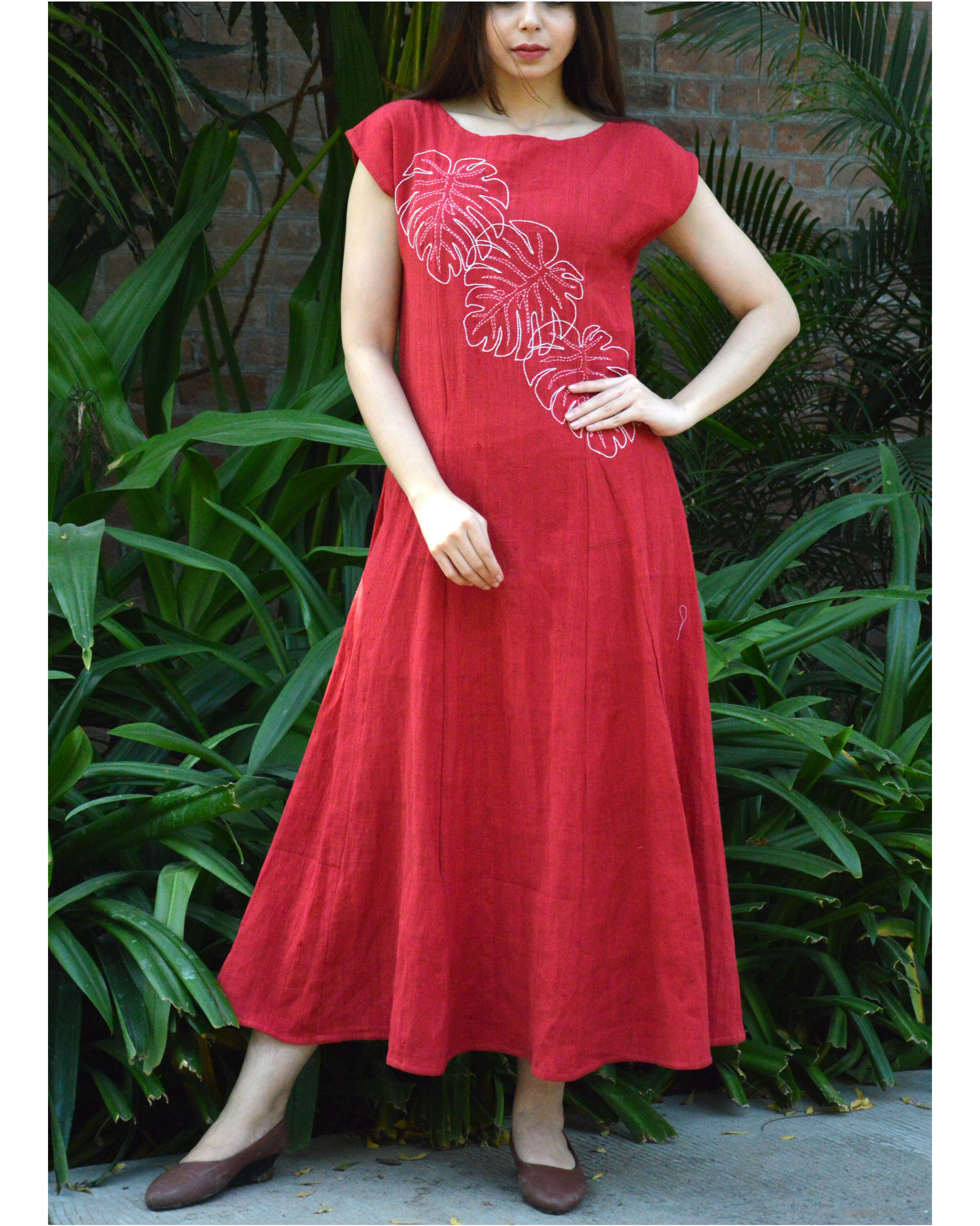 Red monstera maxi dress