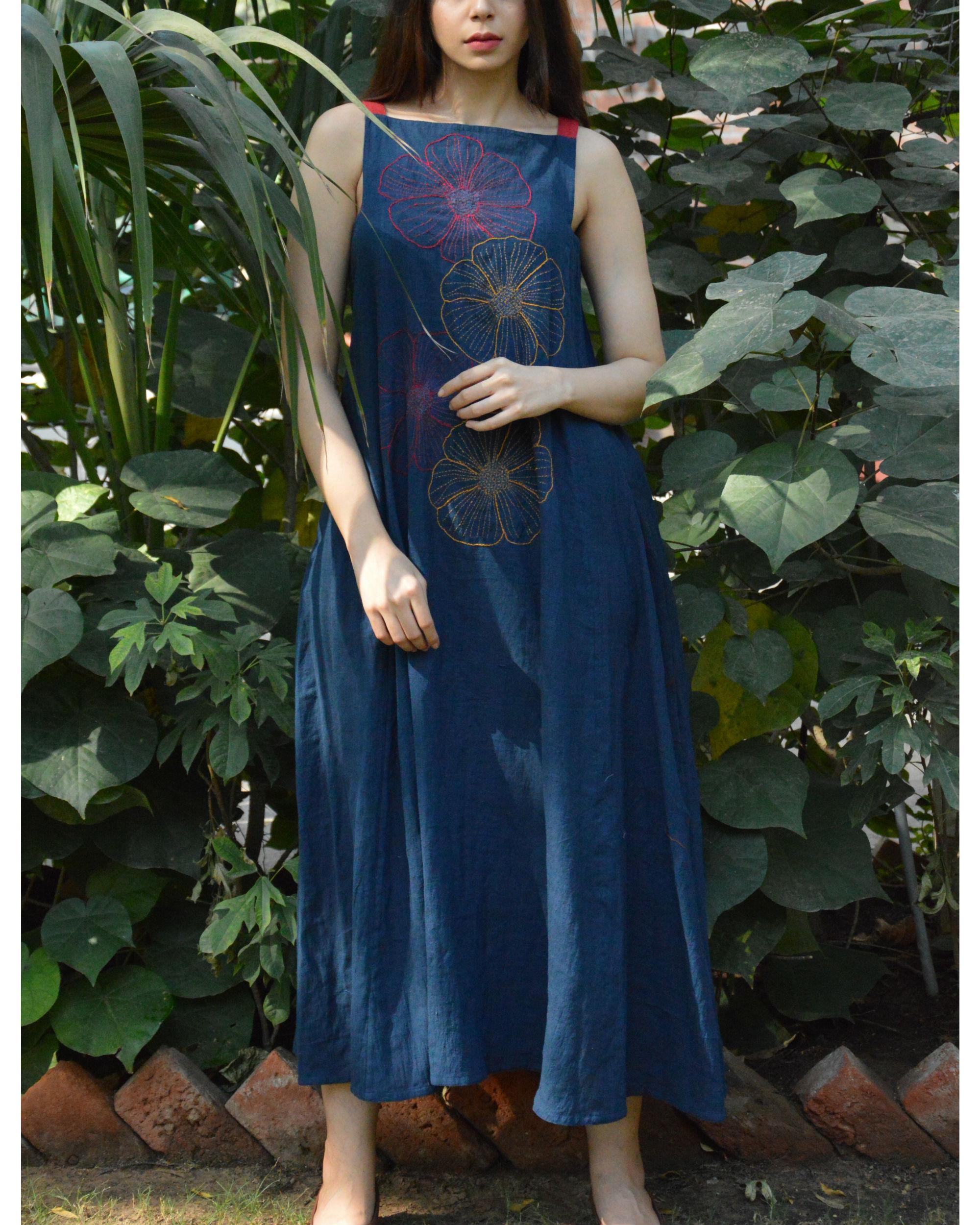 Embroidered indigo maxi dress