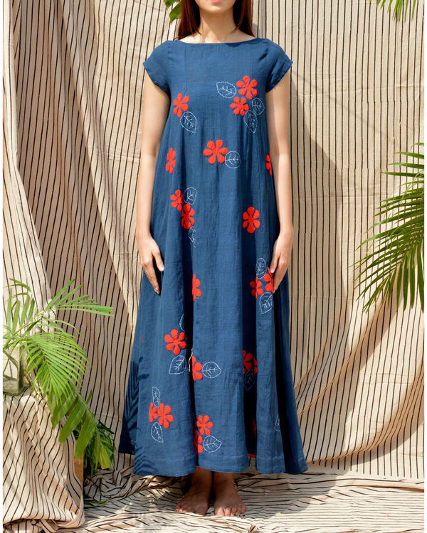 Indigo boat neck maxi dress