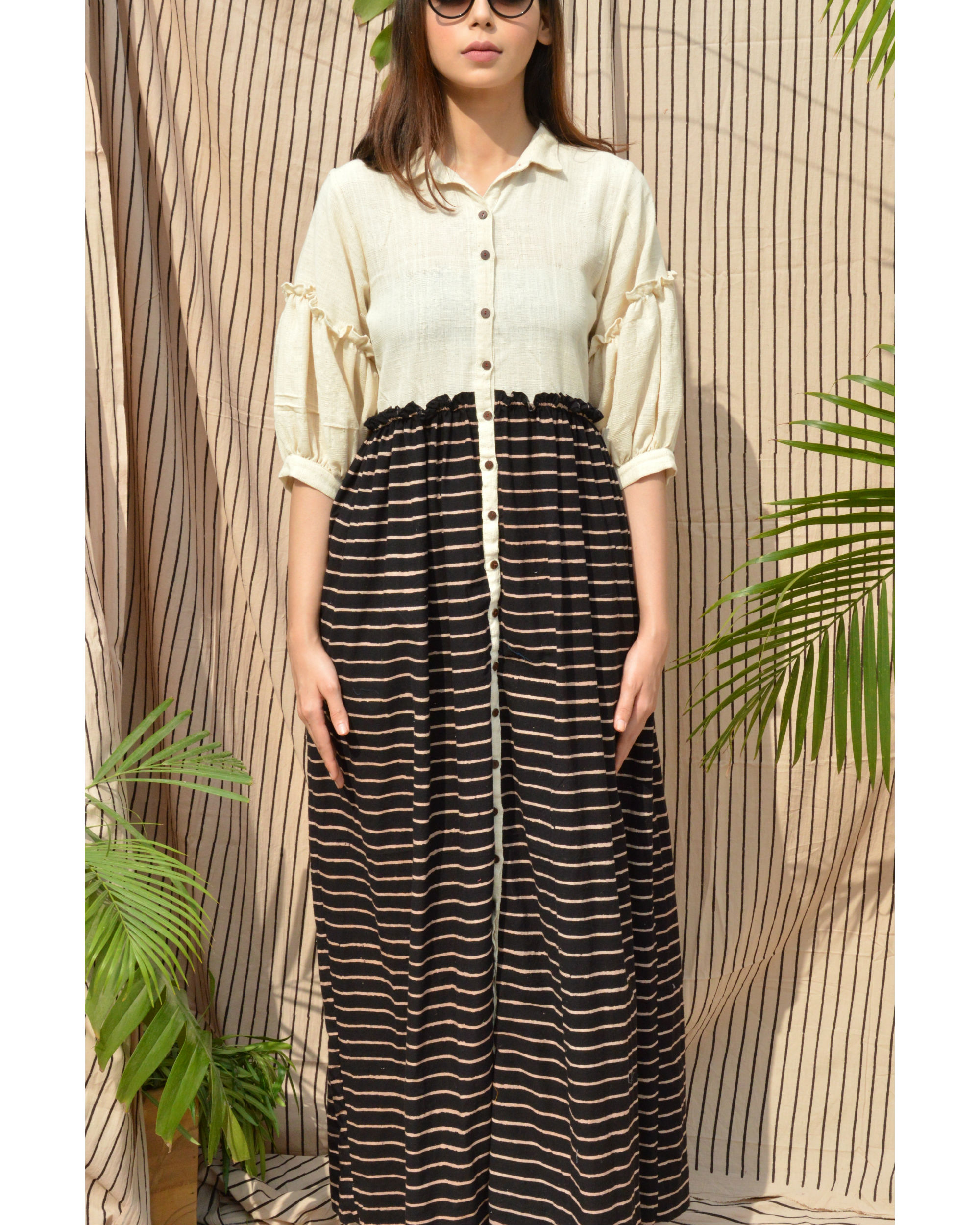 White & black khadi dress
