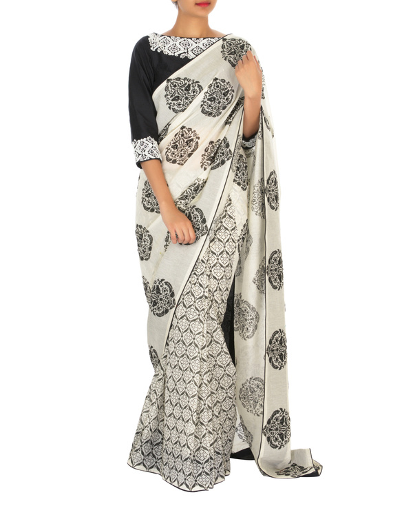 Embroidered Black and white chanderi sari with blouse
