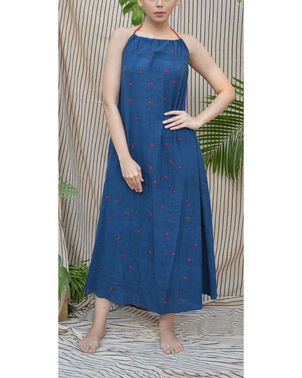 Indigo polka maxi dress