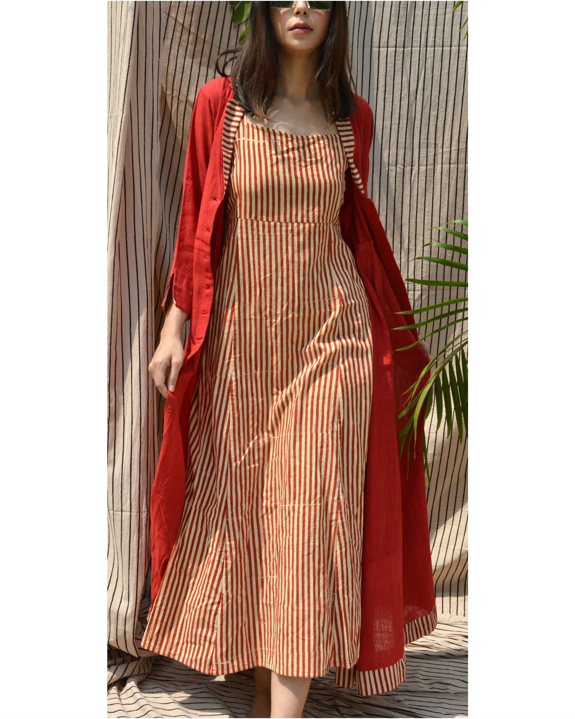 Red khadi collared jacket