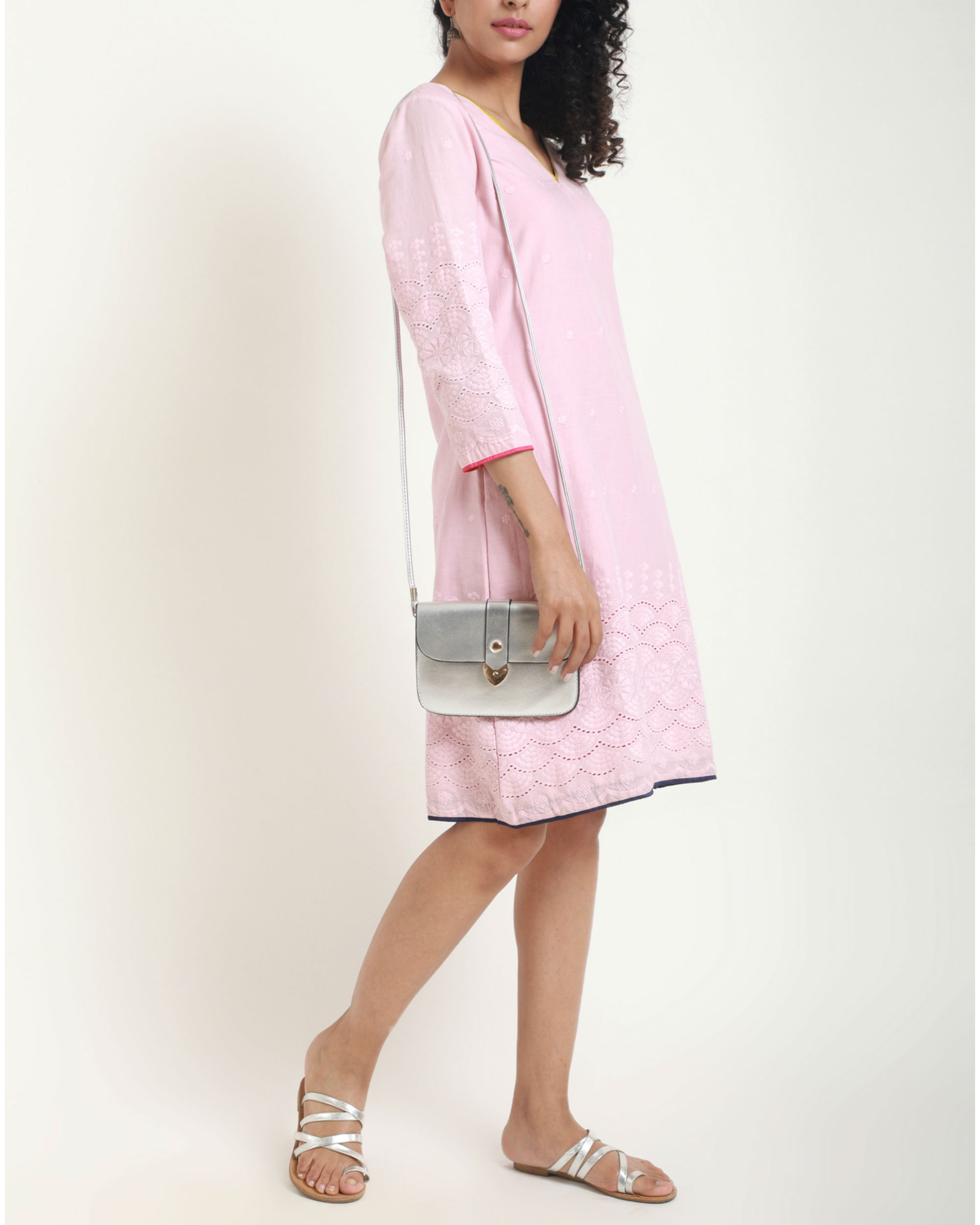1978a496a683 Baby Pink Chikan Midi Dress by trueBrowns