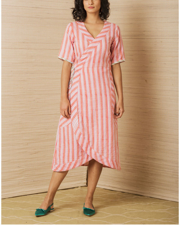 Pink Cotton Wrap Dress